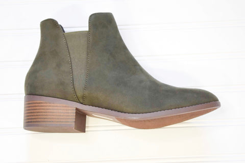 CITY CLASSIFIED- OLIVE KHAKI ANKLE BOOTS