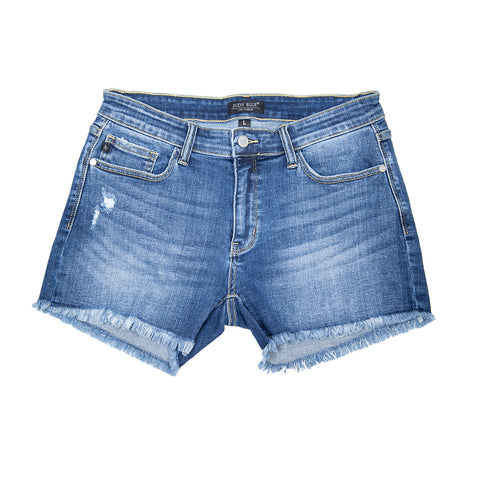 JUDY BLUE CUT OFF HEM SHORTS [JB182131]