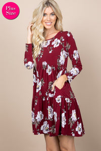 BURGUNDY FLORAL TIERED DRESS