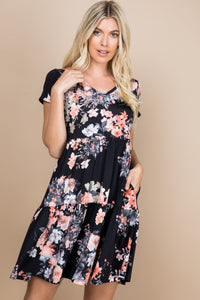 BLACK FLORAL TIERED V-NECK DRESS