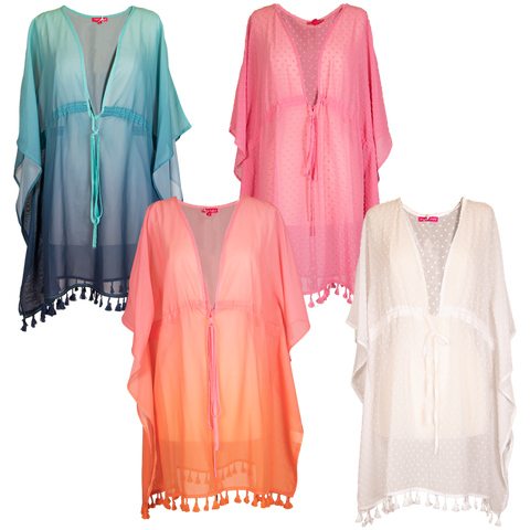SIMPLY SOUTHERN BEACH COVER UP - FRINGED PINK