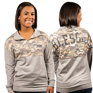 SIMPLY SOUTHERN QUARTER ZIP PULLOVER- CAMO
