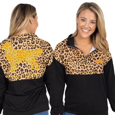 SIMPLY SOUTHERN QUARTER ZIP PULLOVER- LEOPARD