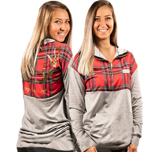 SIMPLY SOUTHERN QUARTER ZIP PULLOVER- PLAID