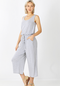 SOLID TANK JUMPSUIT WITH POCKETS [3118] [PICK YOUR COLOR]