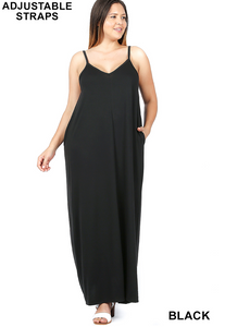 SOLID MAXI DRESS WITH POCKETS & ADJUSTABLE STRAPS [PICK YOUR COLOR]