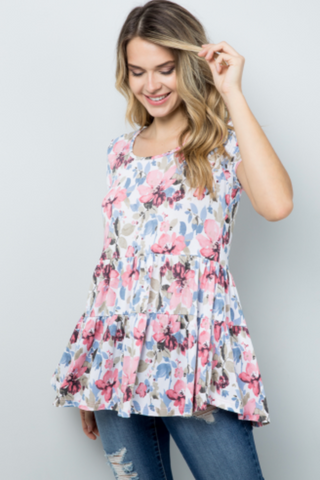 BE STAGE FLORAL TIERED BABYDOLL [PICK YOUR COLOR]