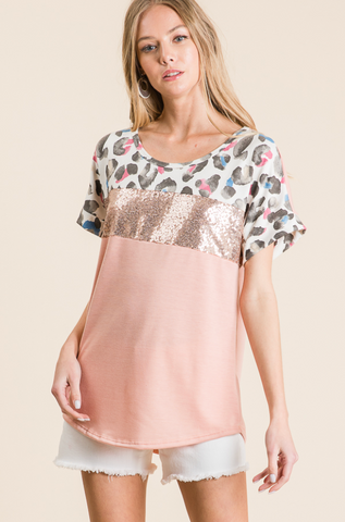 BLUSH LEOPARD SEQUIN COLORBLOCK KNIT TOP