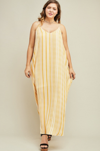 YELLOW STRIPE MAXI DRESS