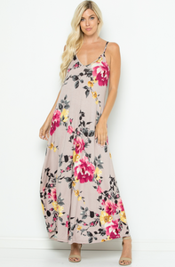 DUSTY PINK FLORAL SPAGHETTI STRAP DRESS