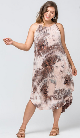 MAUVE TIE-DYE DRESS