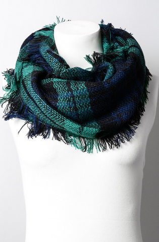 YOUTH GREEN & NAVY FLANNEL FRAYED EDGE SCARF
