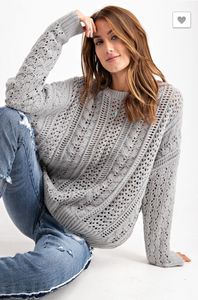 FADED SAGE SOFT VELOUR KNIT SWEATER