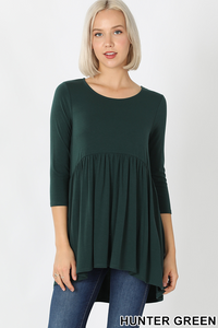 HUNTER GREEN 3/4 BABYDOLL TUNIC