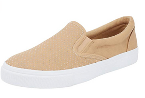 SODA- CAMEL DIMPLED SLIP ON SNEAKERS