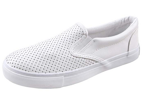 SODA- WHITE DIMPLED SLIP ON SNEAKERS