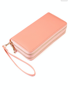 PINK DOUBLE ZIPPER WALLET