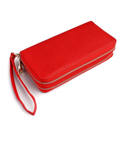 RED DOUBLE ZIPPER WALLET
