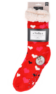 RED HEARTS SHERPA SOCKS