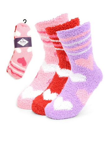 VALENTINE FUZZY HEART SOCK PACK