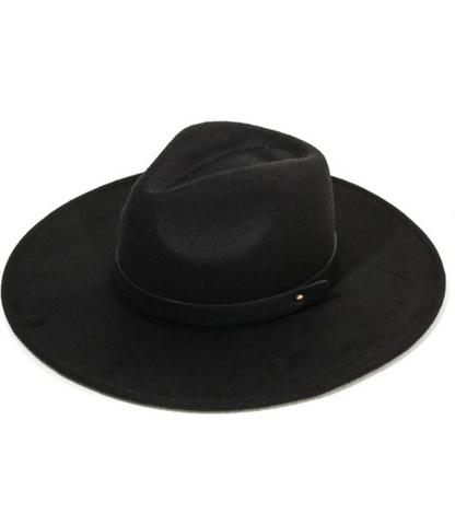 BLACK WIDE BRIM FELT HAT