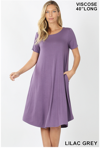 LILAC GREY DRESS WITH POCKETS