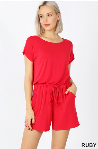 RED SHORT ROMPER WITH BACK TIE DETAIL