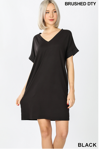 BLACK ROLLED SLEEVE DRESS WITH POCKETS