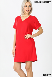 RED ROLLED SLEEVE DRESS WITH POCKETS