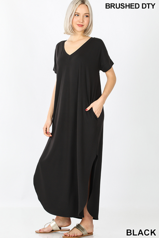 BLACK MAXI DRESS WITH SIDE SLITS