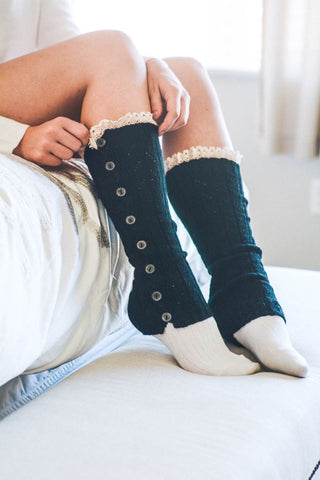 BLACK BOOT SOCK WITH LACE DETAIL