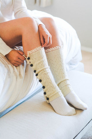 IVORY BOOT SOCK WITH LACE DETAIL