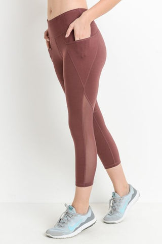 MONO-B COMPRESSION LEGGINGS - PLUM MESH OVERLAY CAPRI [AP1552]