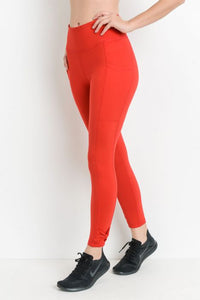 MONO-B COMPRESSION LEGGINGS -  RED BOW ACCENT HIGH WAIST FULL [1635]