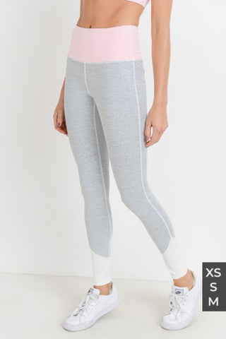 MONO-B COMPRESSION LEGGINGS - PINK & GREY COLOR BLOCK FULL LENGTH [2265]