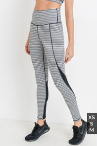MONO B- BLACK & WHITE STRIPE TIRAMISU COLORBLOCK LEGGINGS APH2303