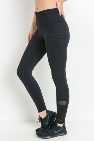 MONO-B COMPRESSION LEGGINGS -BLACK HIGHWAIST MOTO RIBBED FULL LENGTH {APH6109}