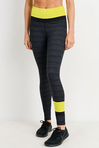 MONO-B COMPRESSION LEGGINGS - DARK STRIPED NEON ACCENT {6192}