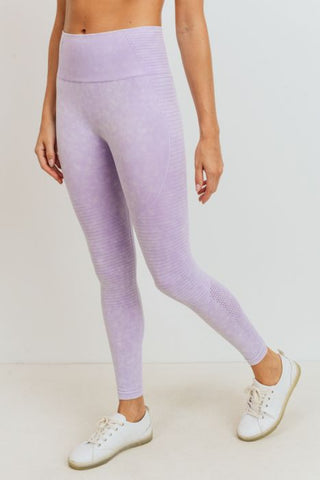 MONO-B COMPRESSION LEGGINGS - LAVENDER HIGHWAIST MINERAL WASHED {8014}