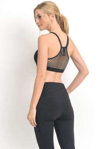 MONO B FISHNET BACK SEAMLESS ATHLEISURE BRA AT1961
