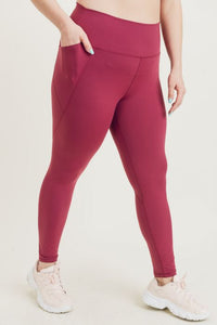 MONO-B COMPRESSION LEGGINGS - BEET TAPERED BAND ESSENTIAL SOLID HIGHWAIST {BP600}