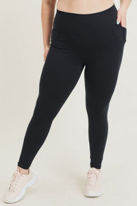MONO-B COMPRESSION LEGGINGS - BLACK TAPERED BAND ESSENTIAL SOLID HIGHWAIST {BP600}