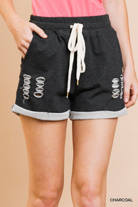 CHARCOAL DISTRESSED ROLLED SHORTS