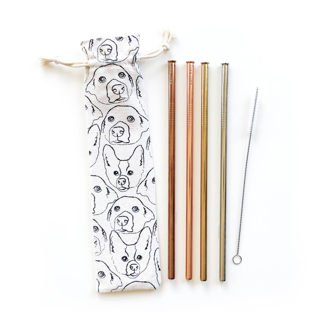 LOVE YOUR DOG REUSABLE STRAW SET