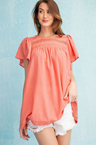EASEL - CORAL COTTON WOVEN TUNIC