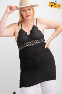 EASEL - BLACK BRALETTE TOP WITH RIB LACE DETAIL