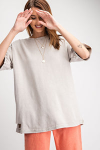 GREY HALF SLEEVE WASHED TERRY KNIT DESTROYED TOP