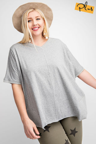 HEATHER GREY SHORT SLEEVE WITH RIBBED SIDE DETAIL