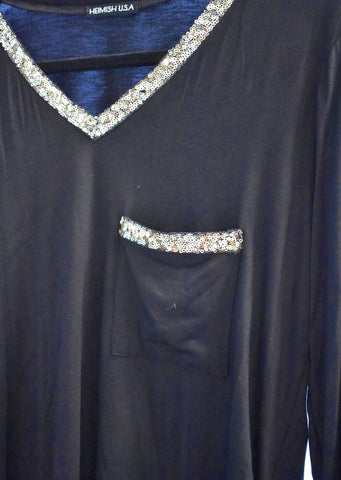 BLACK LONG SLEEVE WITH SEQUIN NECK HEM DETAIL