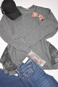CHARCOAL PINSTRIPE KNIT SWEATER WITH LACE SIDE DETAIL